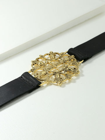 The Siena Leather Snap Belt Gold