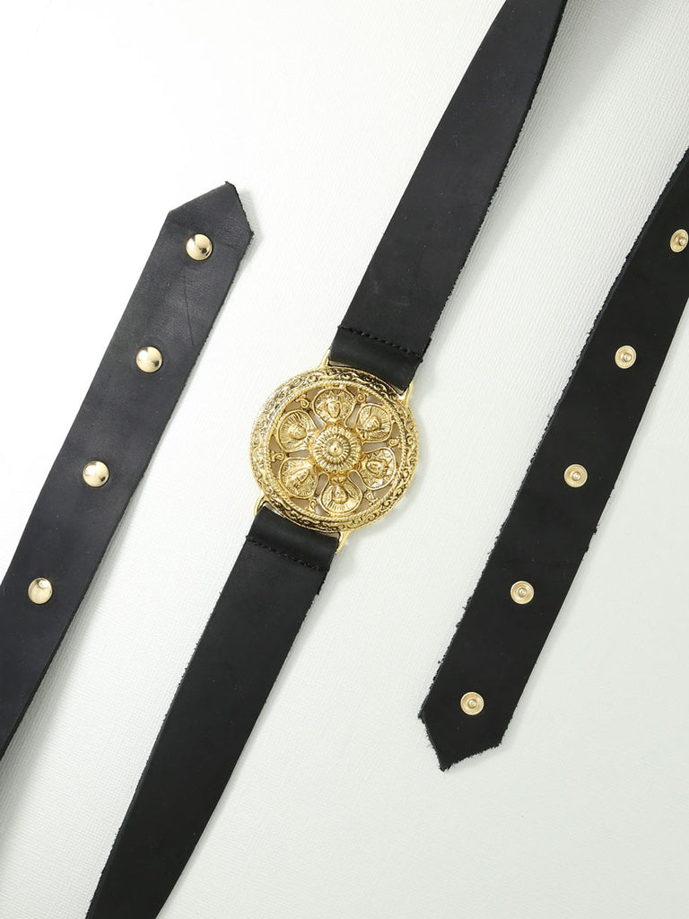 Belts The Ti Amo Leather Snap Belt Gold Vanessa Mooney