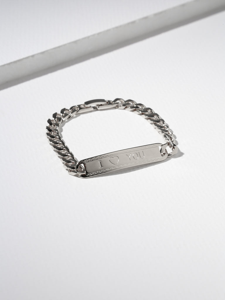 The I Heart You ID Bracelet Silver