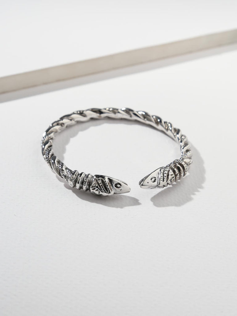 The Serpentine Snake Cuff - Silver