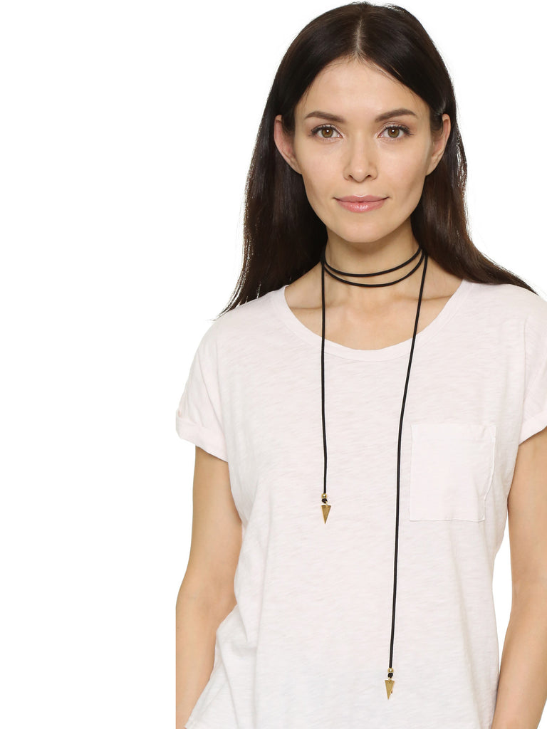 Necklaces Black Suede Bolo With Gold Arrows Vanessa Mooney
