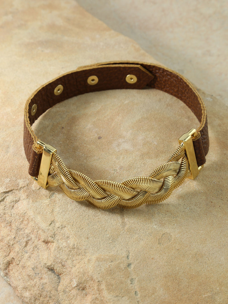 The Aphrodite Brown Leather Snap Choker