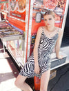 The Lala VM Slip Dress - Zebra