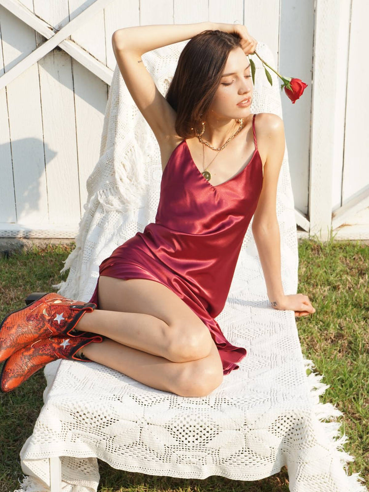 The Lala VM Slip Dress - Burgundy