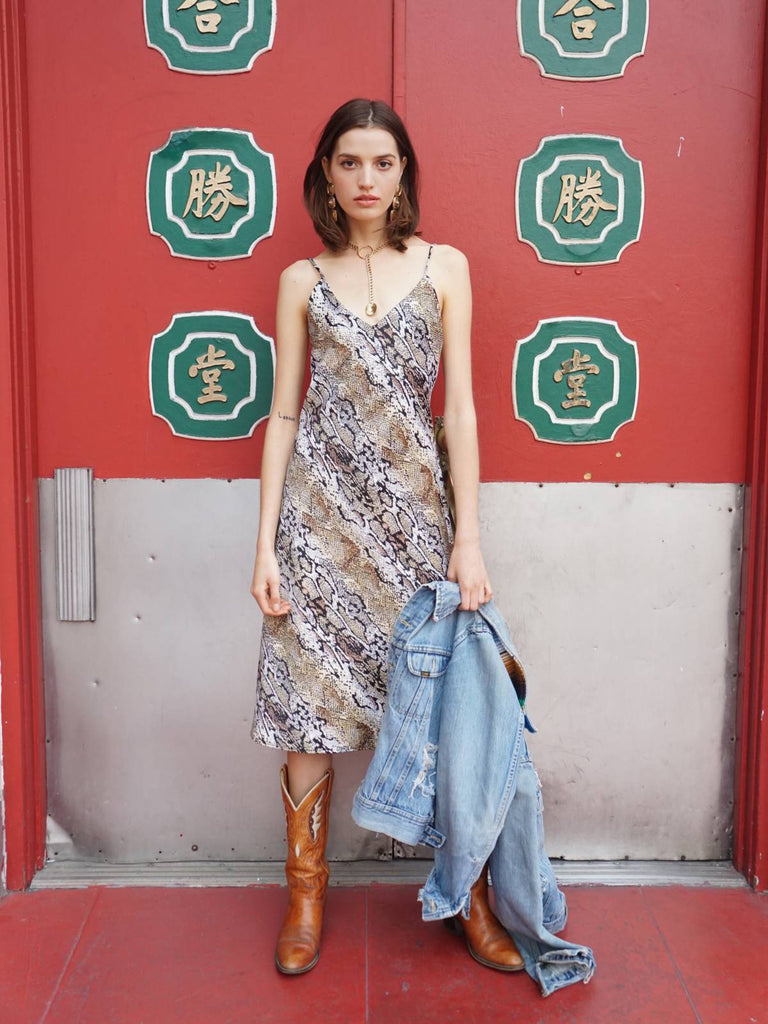 The Lala VM Slip Dress - Snakeskin