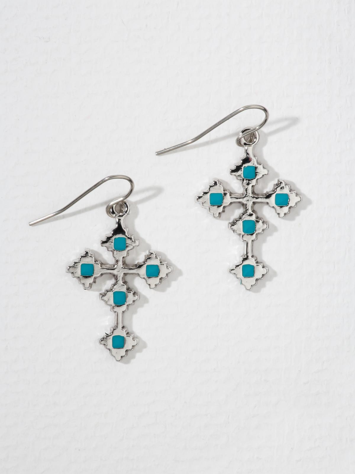 The Paradise Cross Earrings - Silver