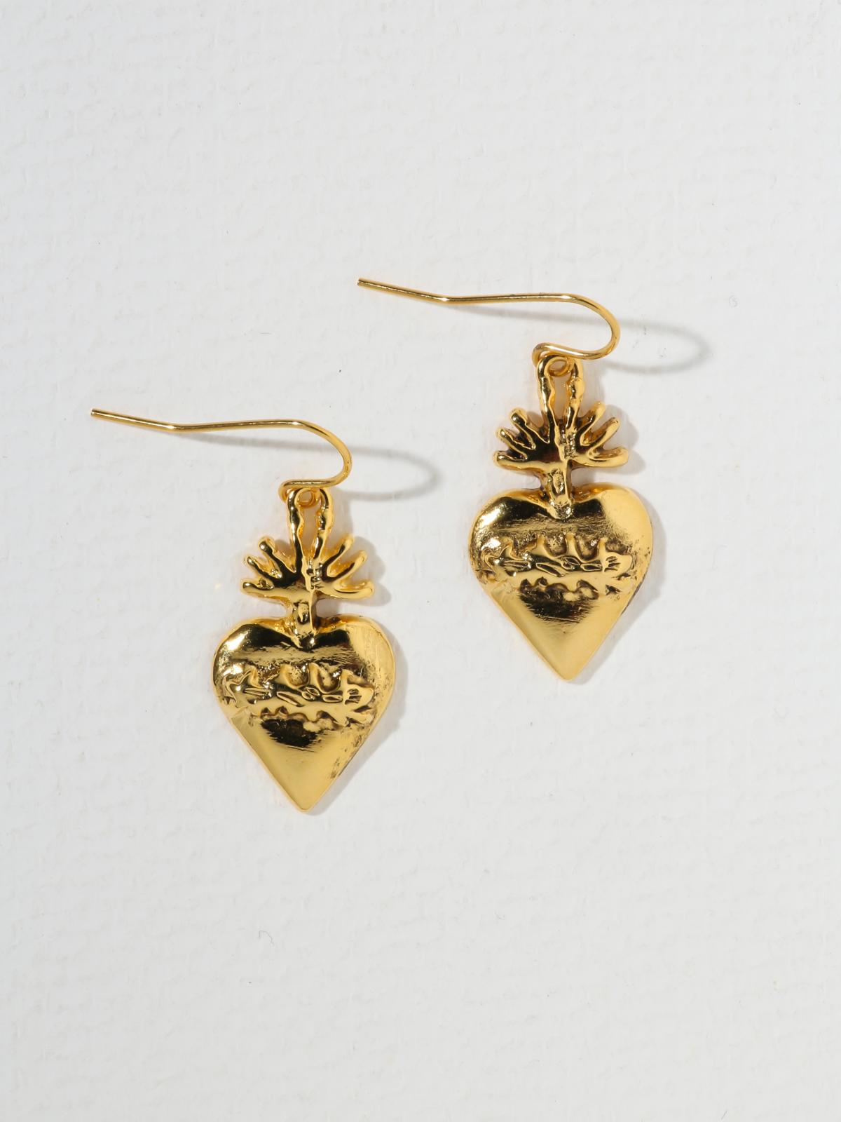 Earrings The Flame Sacred Heart Earrings Vanessa Mooney