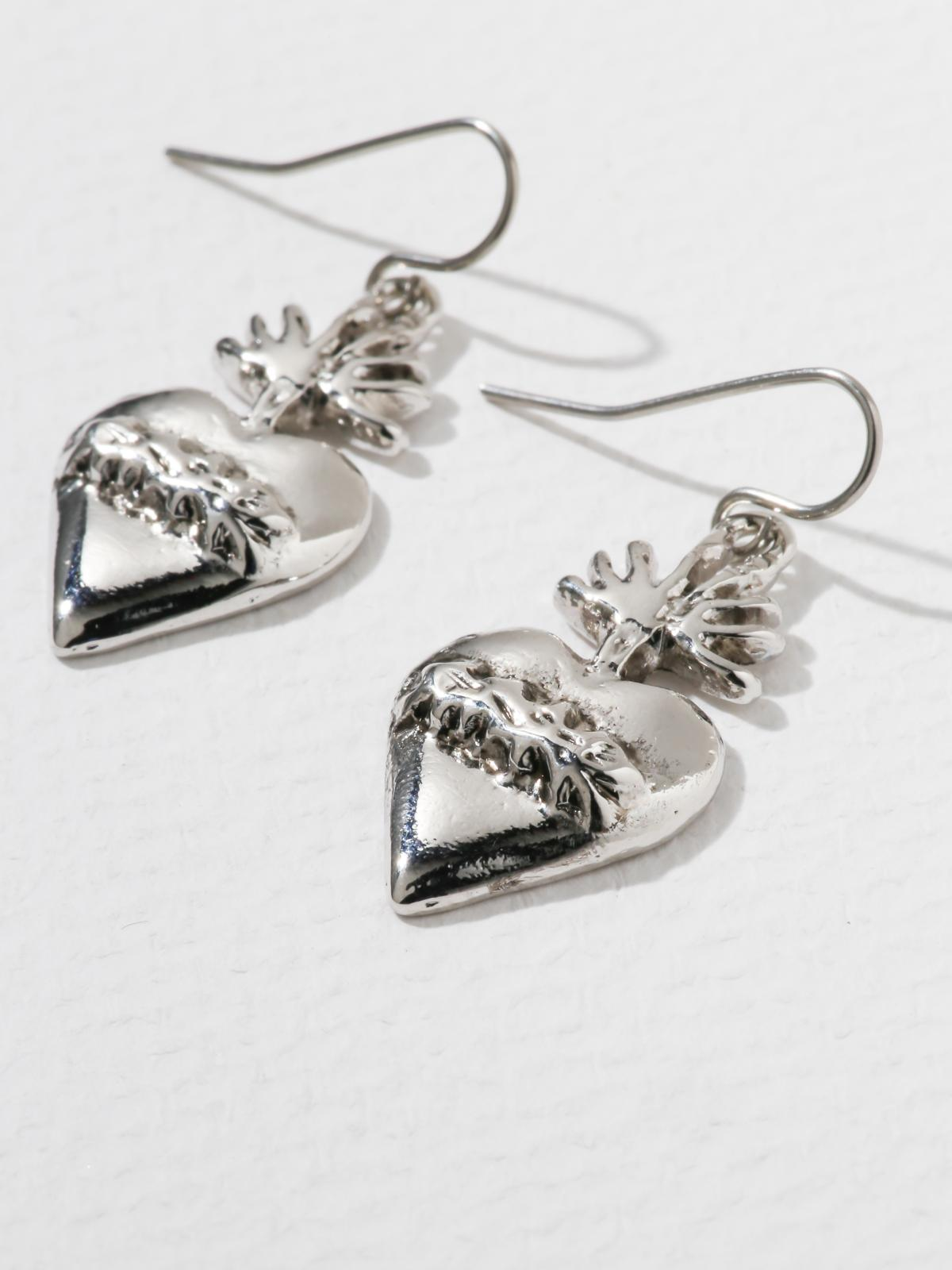 The Flame Sacred Heart Earrings Silver