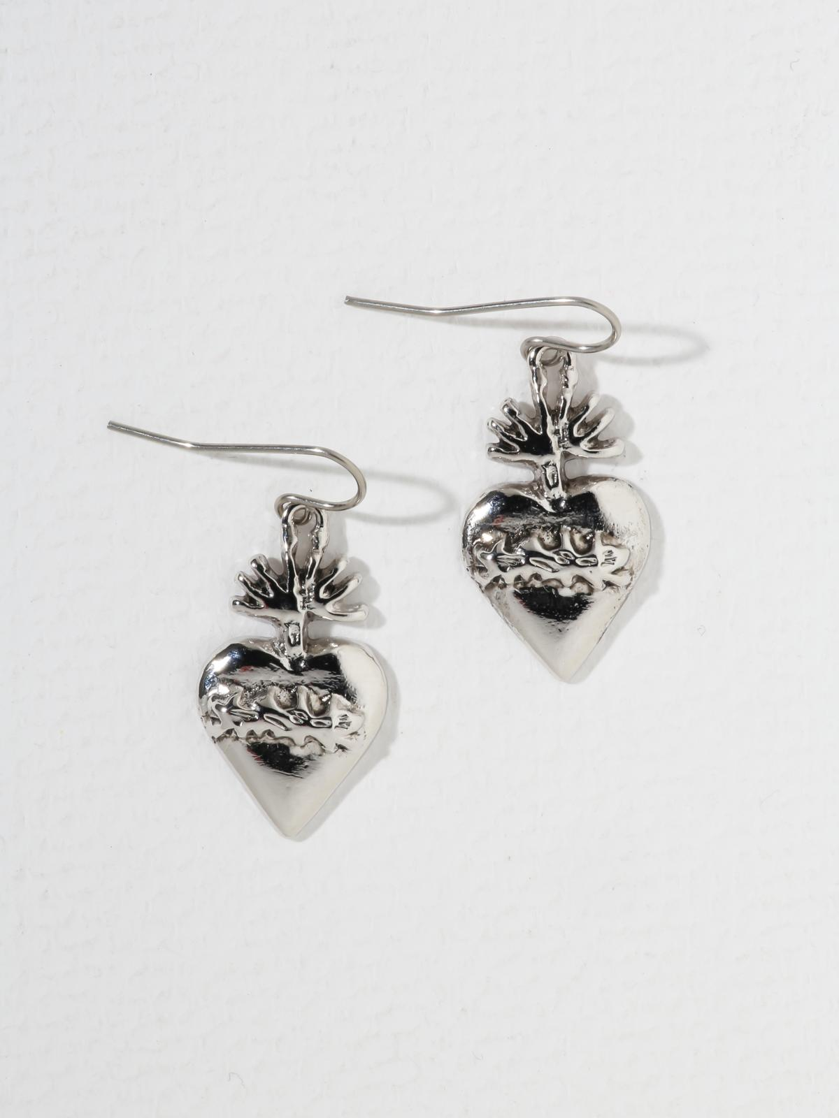 The Sacred Flame Heart Earrings - Silver