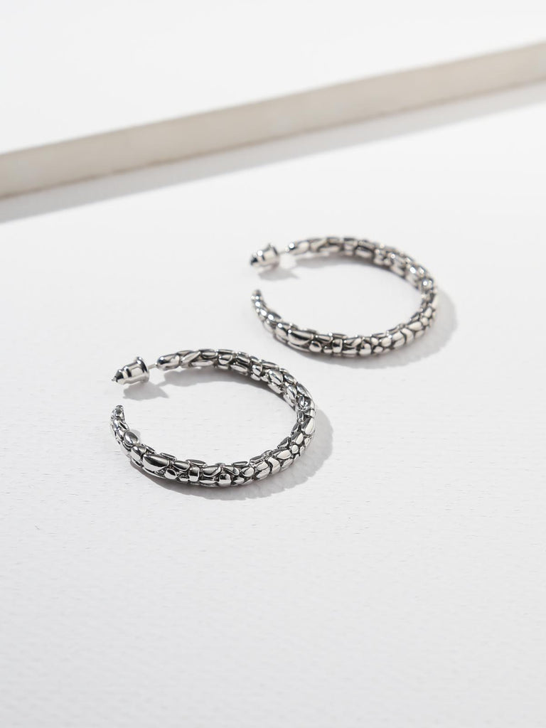 The Snakeskin Hoops - Silver