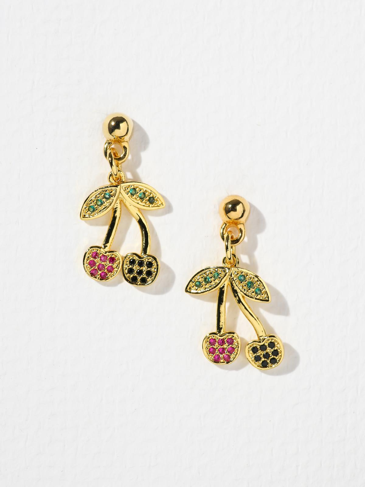 Gold Cherry Earrings