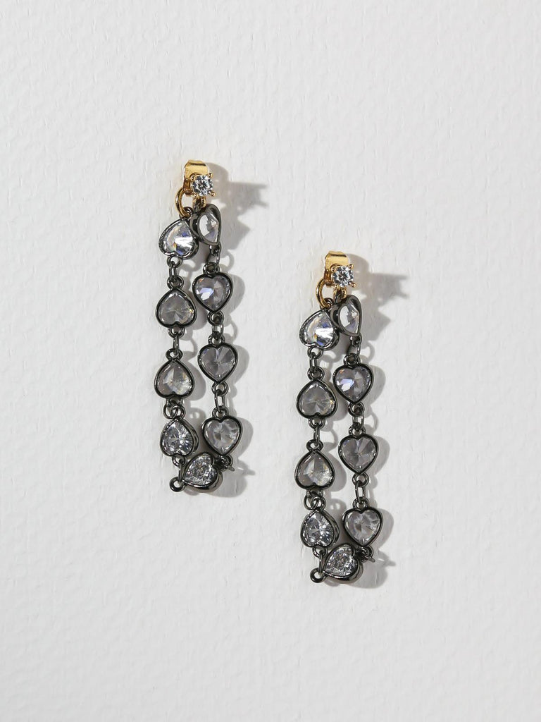 The Crystal Heart Chain Stud Earrings
