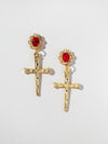 The Aria Ruby Cross Earrings