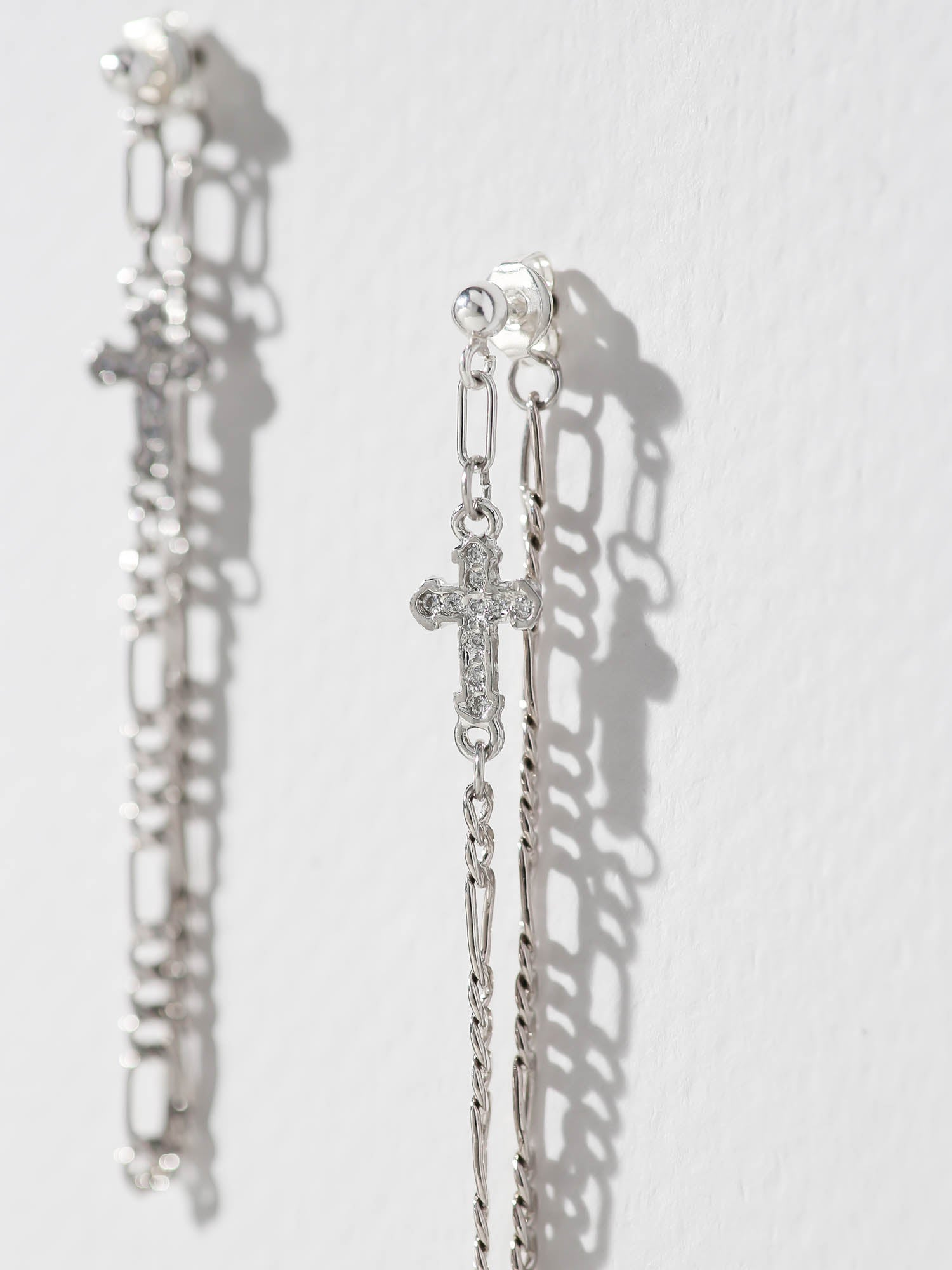 Earrings The Unchained Cross Earrings - Silver Vanessa Mooney