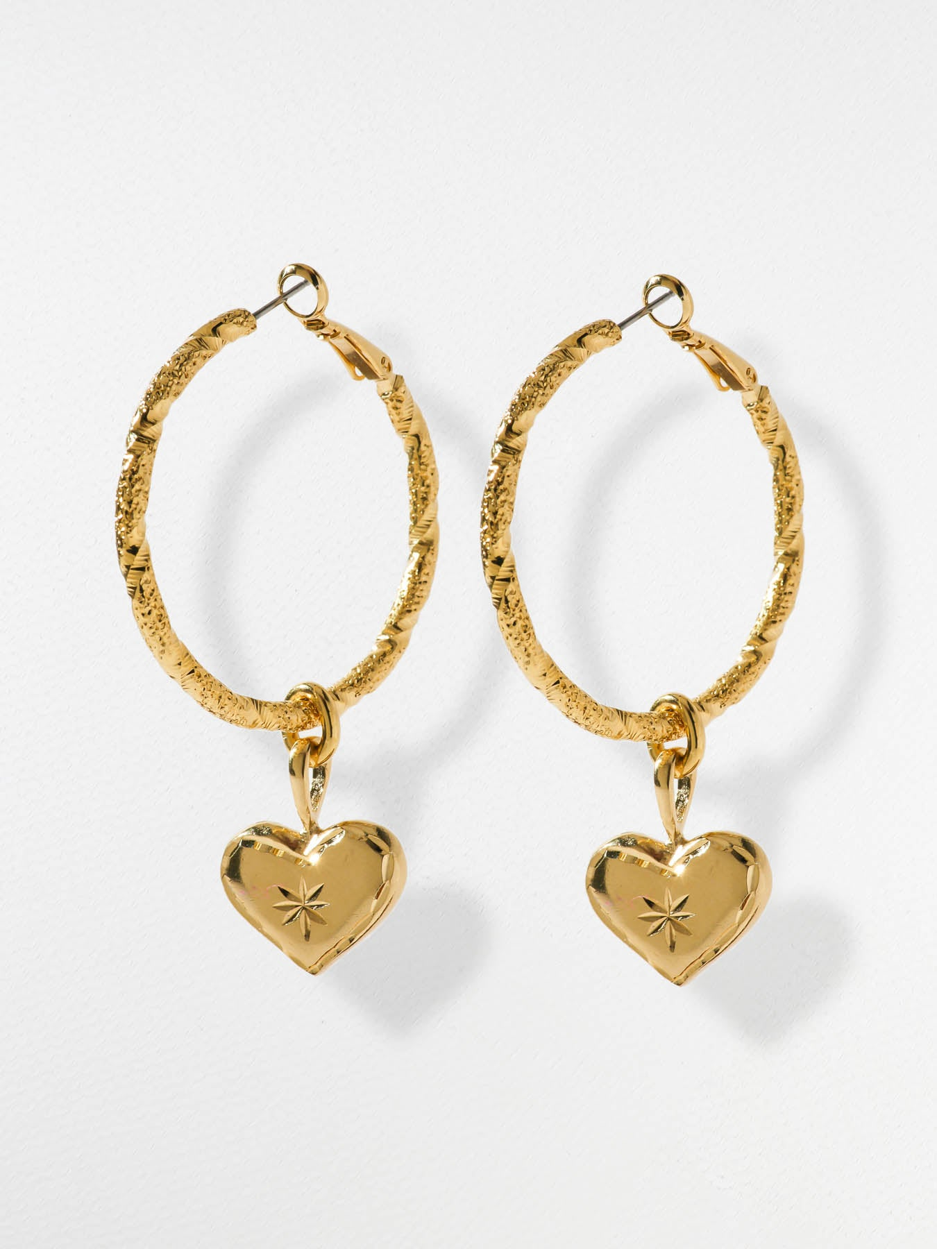 Earrings The Etched Heart Hoop Earrings Vanessa Mooney
