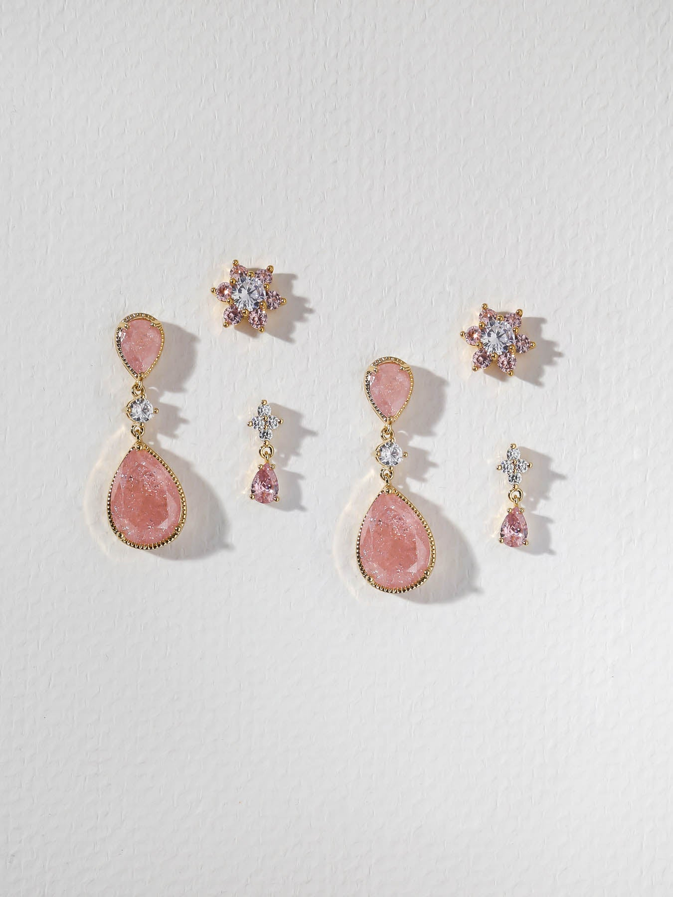 The Rose Quartz Earring Set