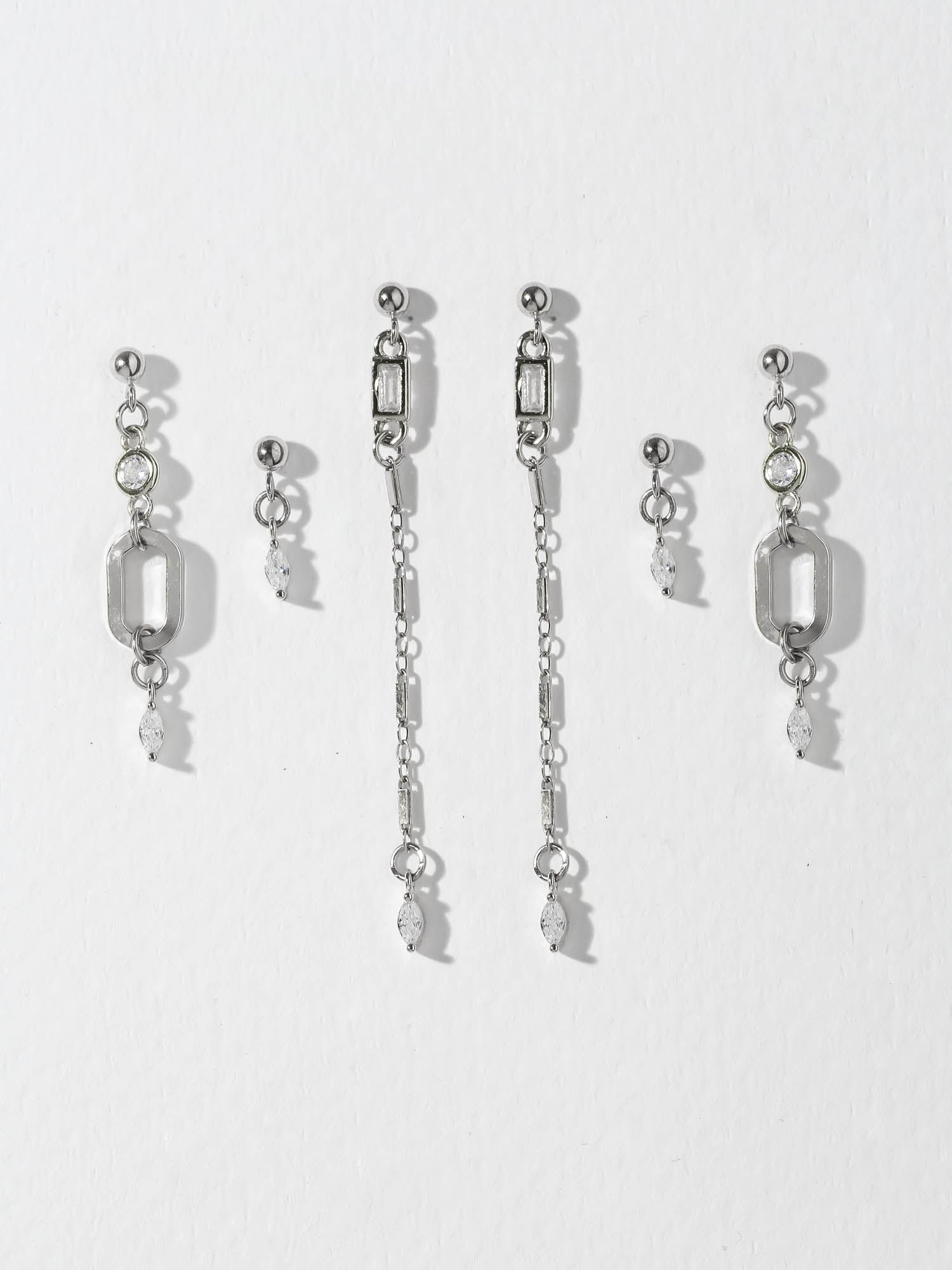 The Trio Earring Set - Silver