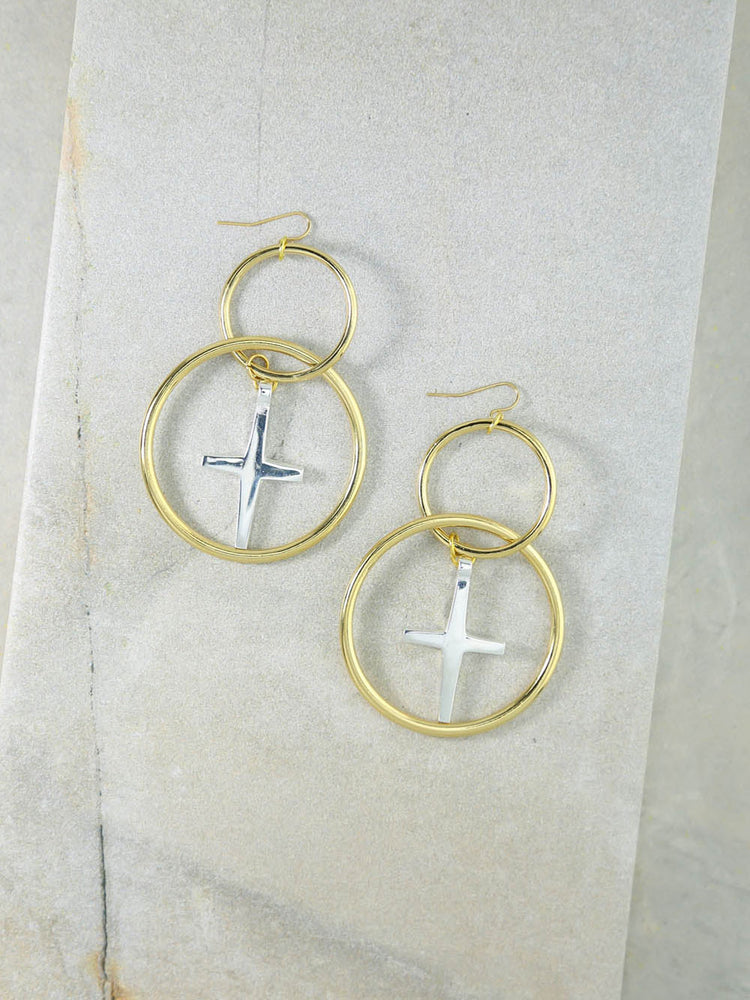The Embark Gold Cross Earrings