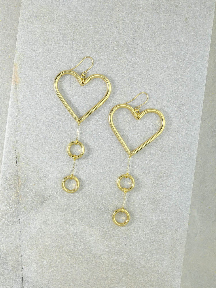 Our Devotion Heart Earrings Gold
