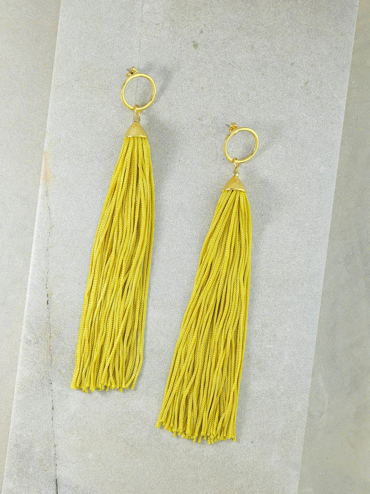 The Firefly Gold Tassel Earrings