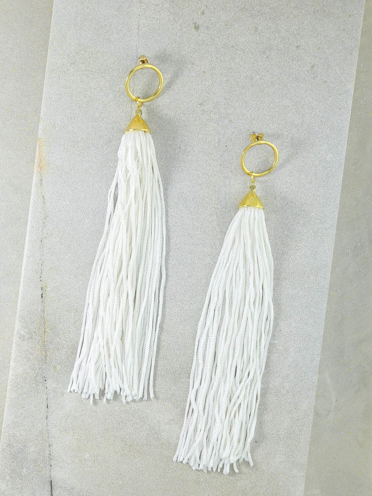 Earrings The Firefly White Tassel Earrings Vanessa Mooney