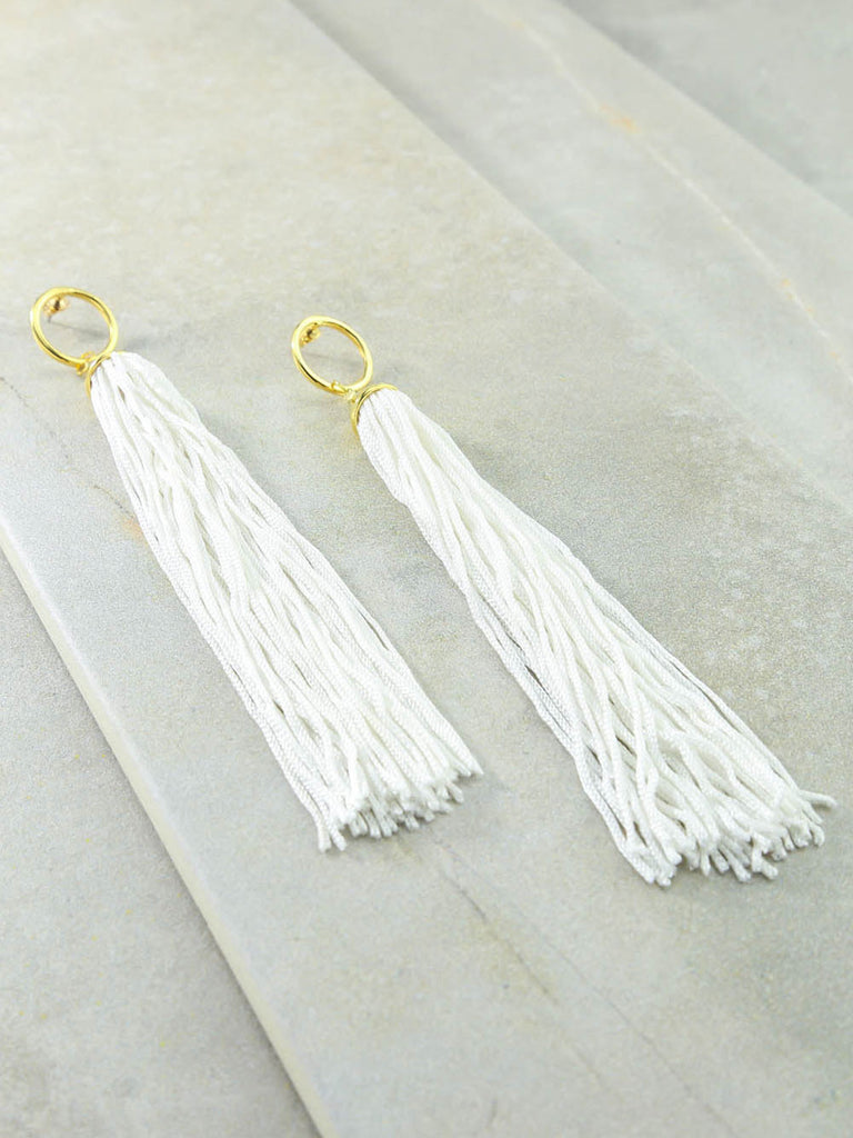 The Firefly White Tassel Earrings