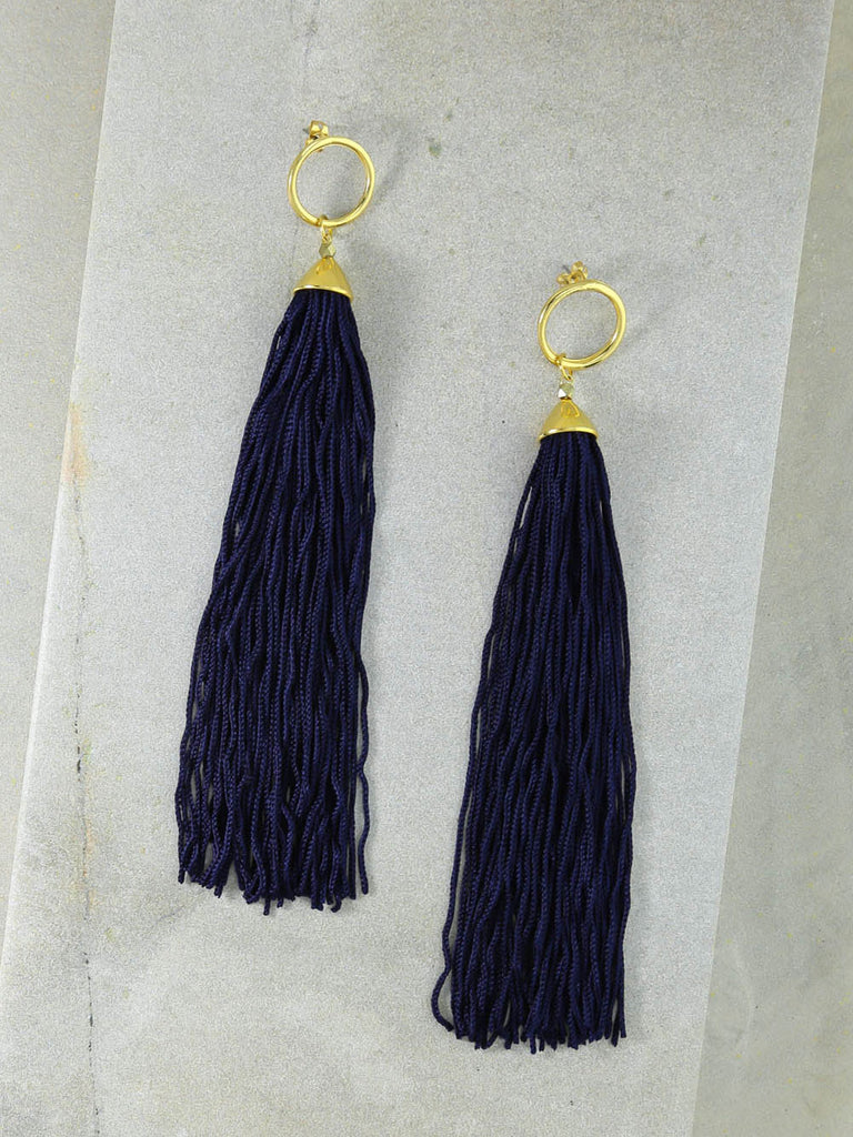 The Firefly Navy Tassel Earrings