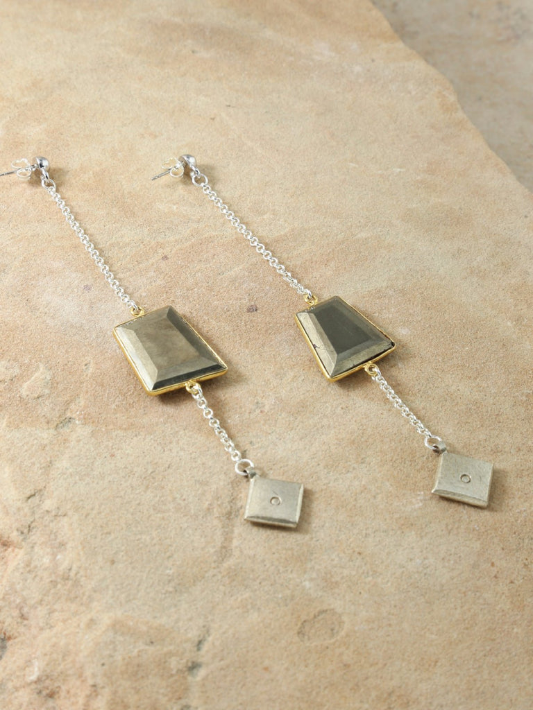 Earrings The Square Pyrite Earrings Vanessa Mooney
