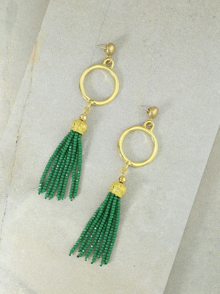 The Marin Tassel Earrings Green