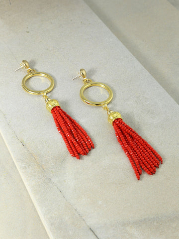 The Marin Tassel Earrings Red