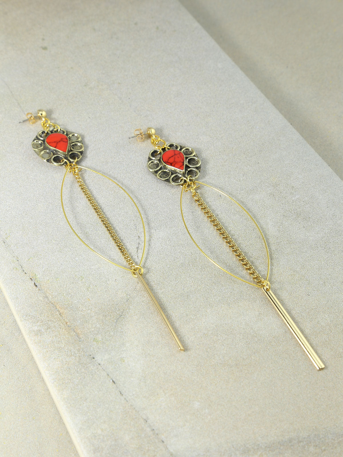The Marisol Drop Earrings Coral