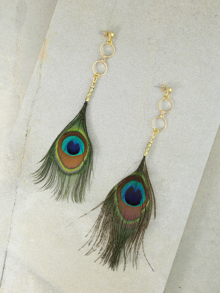Earrings The Azul Peacock Feather Earrings Vanessa Mooney