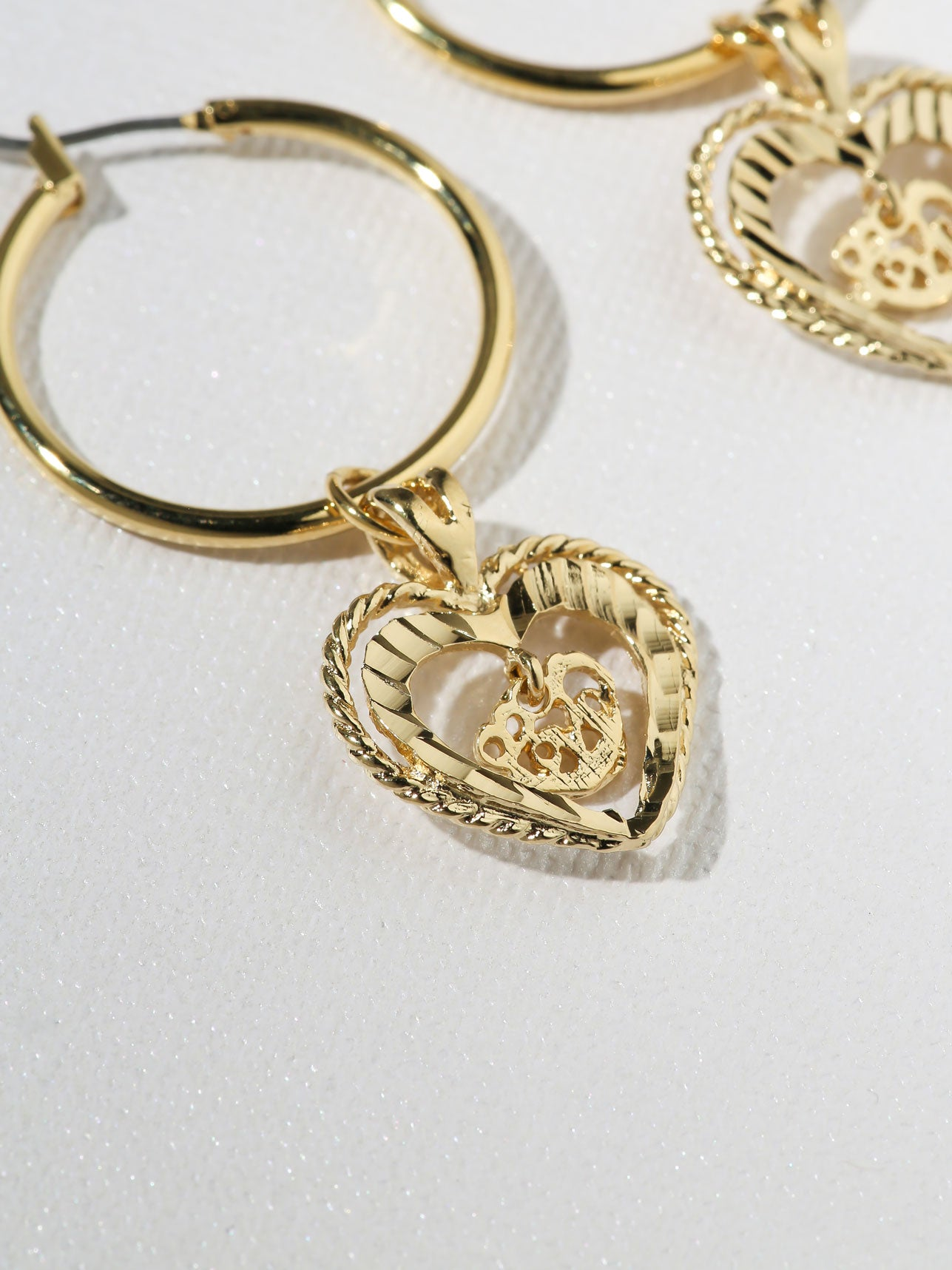 bamboo shaped heart tone us gold icing hoop earrings