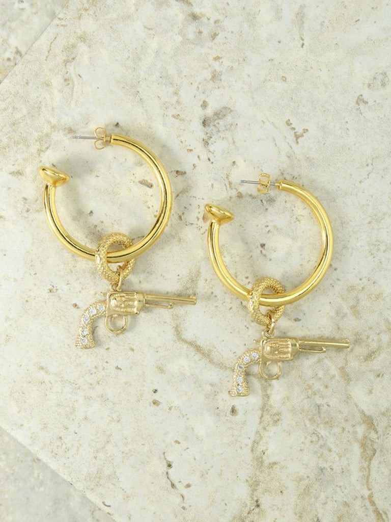 The Gold & Crystal Revolver Charm Hoops