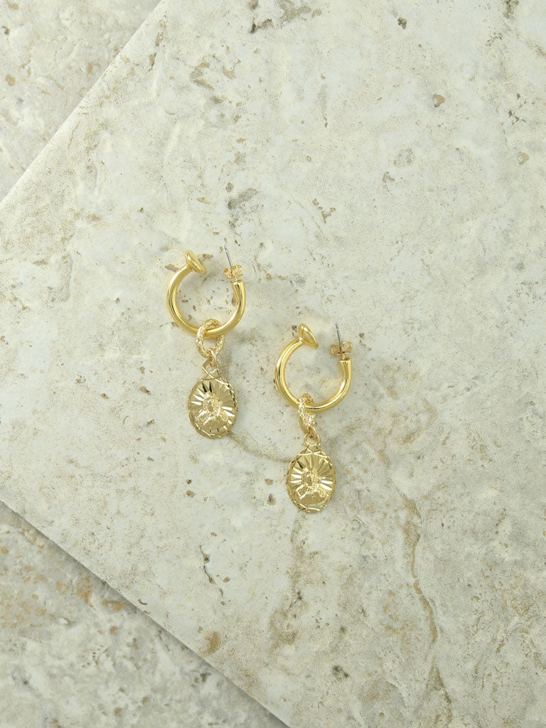 Earrings The Son Of Man Gold Charm Hoop Earrings Vanessa Mooney