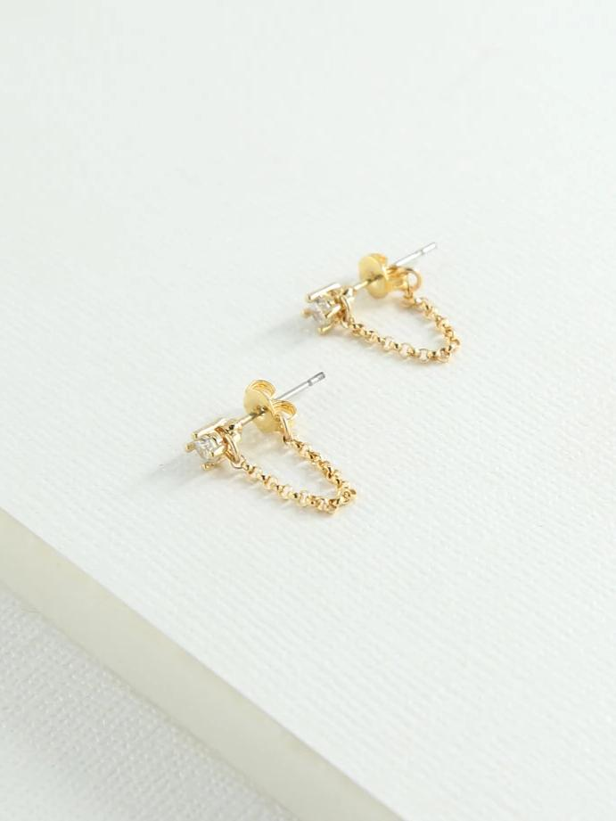 Earrings The Lila Stud & Chain Earrings Vanessa Mooney