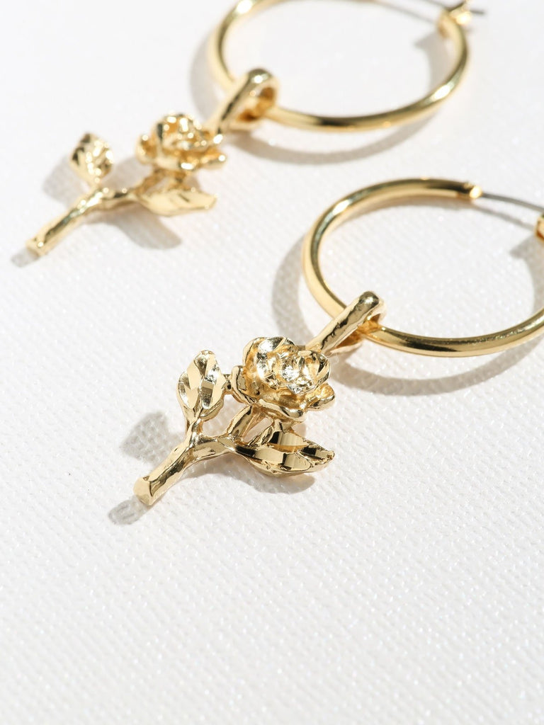 Earrings Gold Little Rose Hoops Vanessa Mooney