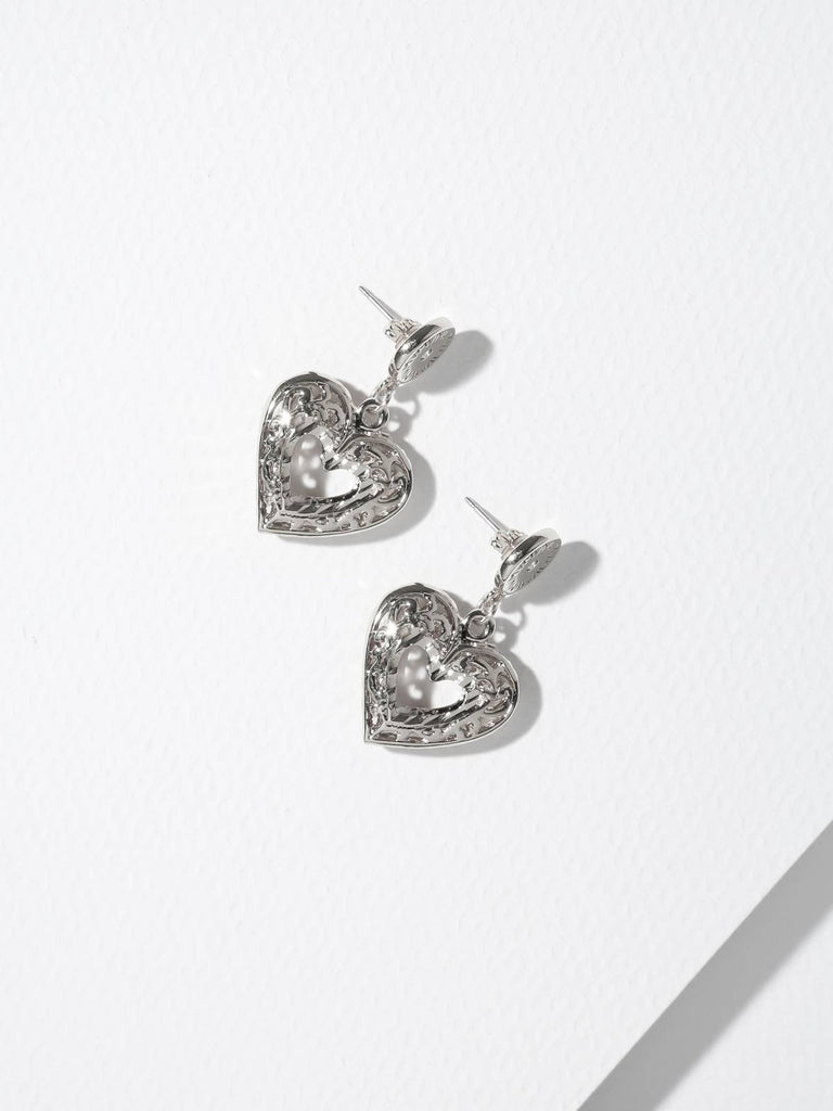 The Charlotte Heart Post Earrings Silver