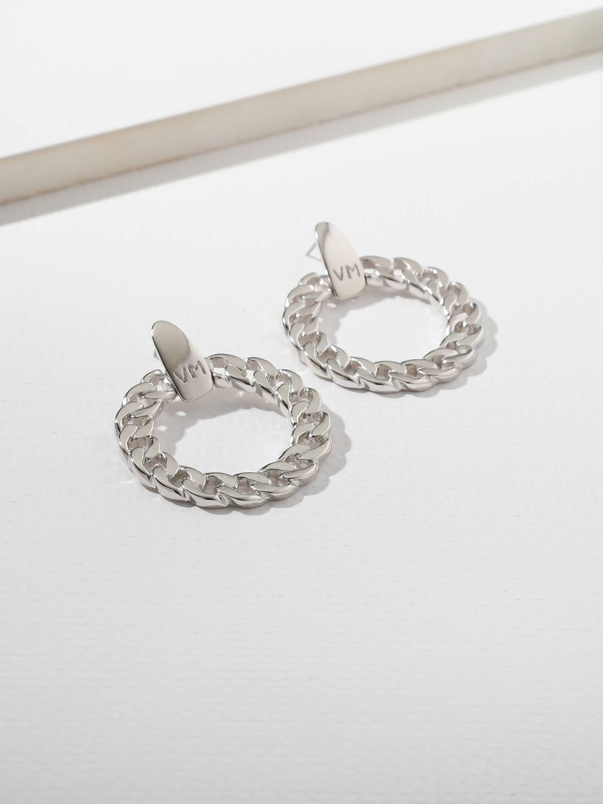 The Members Only VM Logo Flattened Chain Hoops Silver