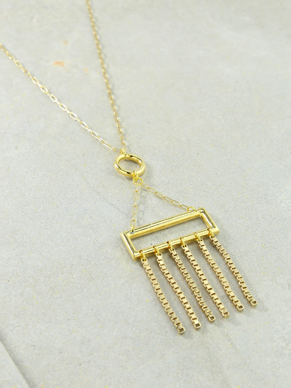 Rectangle Charm Gold Necklace