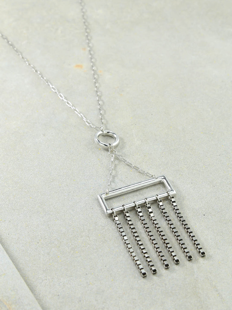 Rectangle Charm Silver Necklace