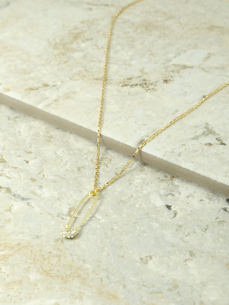 The Gold & Crystal Safety Pin Charm Necklace