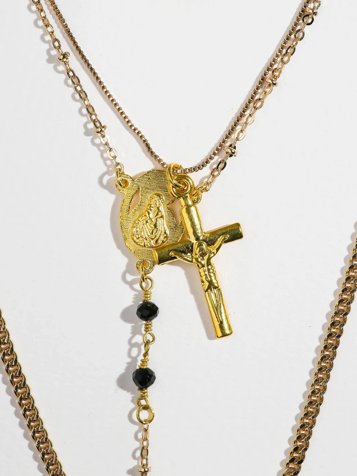 Necklaces The Vera Layered Rosary & Cross Necklace Vanessa Mooney
