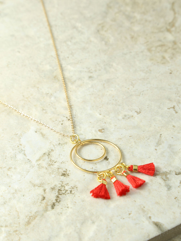 The Ava Chandelier Tassel Necklace Red