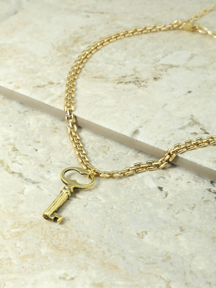 The Gold Romeo Key Charm Necklace