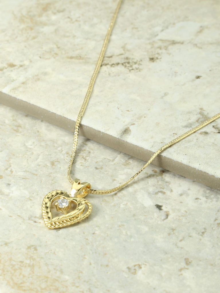 The Gold Nora Heart & Crystal Charm Necklace