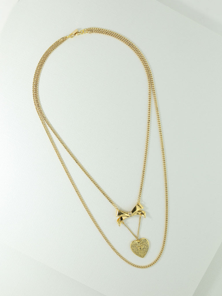 The Luca Heart & Bow Necklace