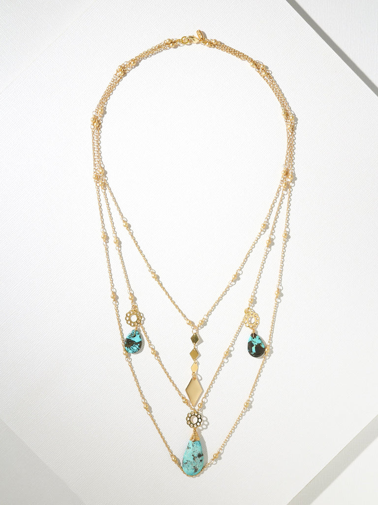 Necklaces Annie Multi-Chain & Turquoise Necklace Vanessa Mooney