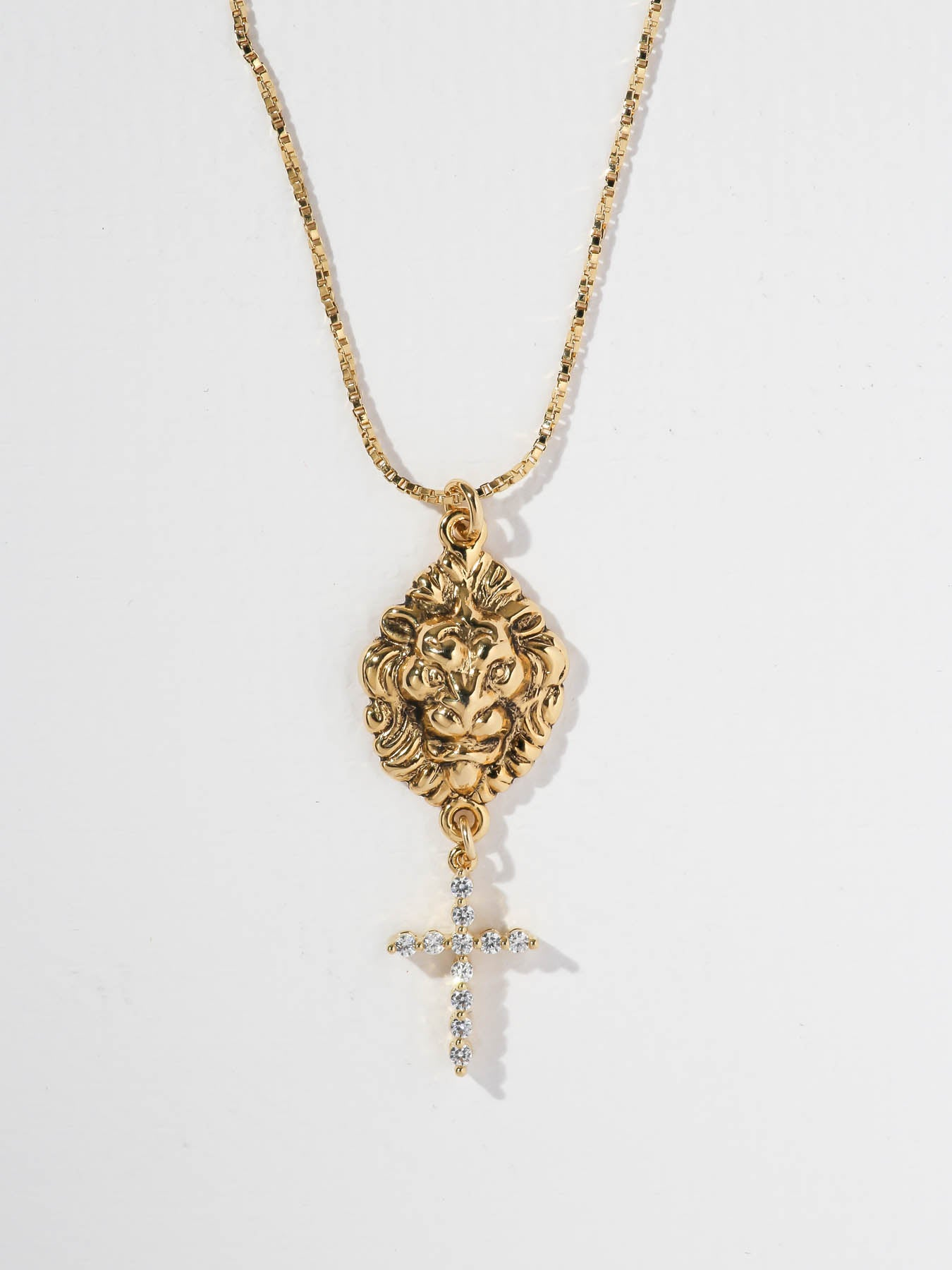 The Royals Lionhead & Diamond Cross Necklace