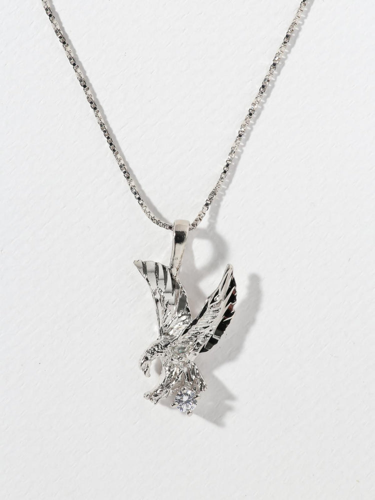 The Lopes Eagle Charm Necklace Silver